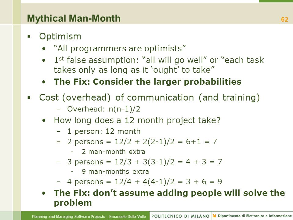 """Planning and Managing Software Projects – Emanuele Della Valle Mythical Man-Month  Optimism """"All programmers are optimists"""" 1 st false assumption: """"a"""