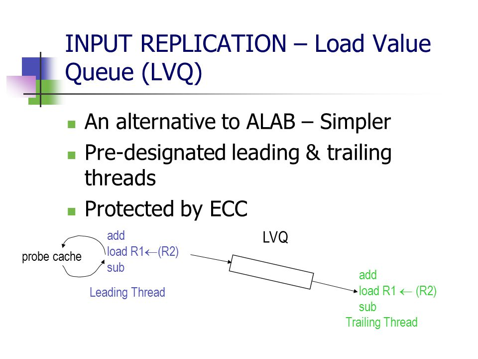 INPUT REPLICATION – Load Value Queue (LVQ) An alternative to ALAB – Simpler Pre-designated leading & trailing threads Protected by ECC add load R1  (R2) sub add load R1  (R2) sub probe cache LVQ Leading Thread Trailing Thread