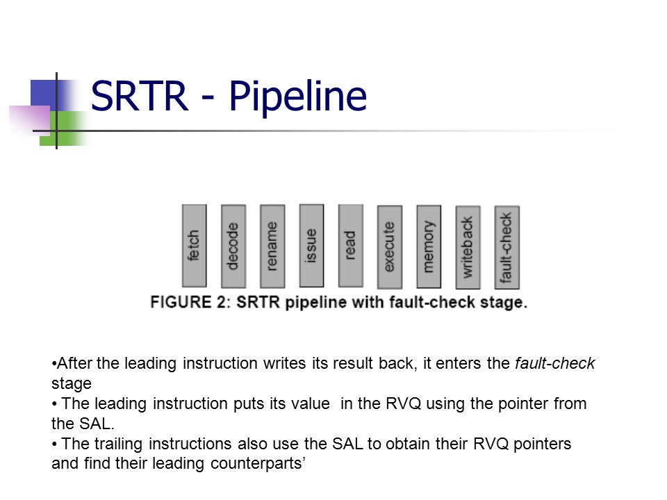 SRTR - Pipeline After the leading instruction writes its result back, it enters the fault-check stage The leading instruction puts its value in the RVQ using the pointer from the SAL.
