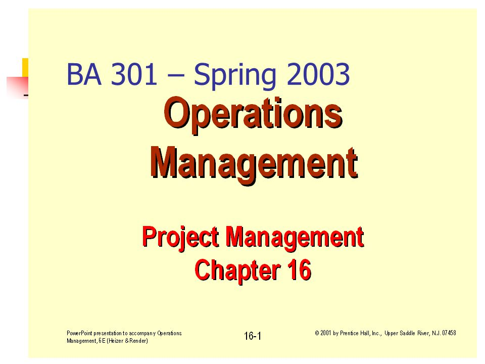 Fall 2001BA 301 - Project Management1 BA 301 – Spring 2003