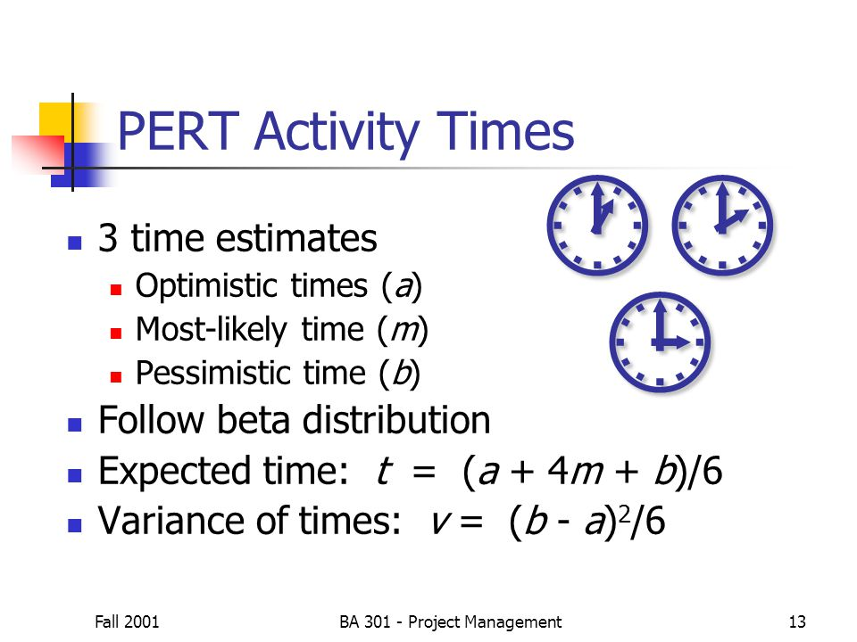 Fall 2001BA 301 - Project Management13 3 time estimates Optimistic times (a) Most-likely time (m) Pessimistic time (b) Follow beta distribution Expect