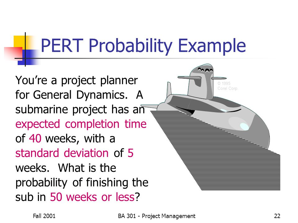 Fall 2001BA 301 - Project Management22 © 1995 Corel Corp. PERT Probability Example You're a project planner for General Dynamics. A submarine project