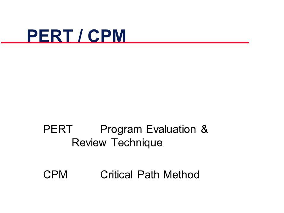 PERT / CPM PERTProgram Evaluation & Review Technique CPMCritical Path Method