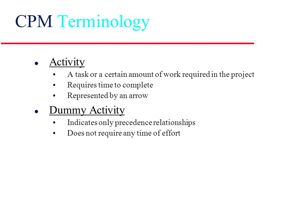 Manager's View of CPM INPUTS List of project activities List of project activities Precedence relationship among activities Precedence relationship among activities Estimate of each activity's duration Estimate of each activity's duration OUTPUTS Estimated duration of project Estimated duration of project Identification of critical activities Identification of critical activities Amount of slack for each activity Amount of slack for each activity CPM processing procedures