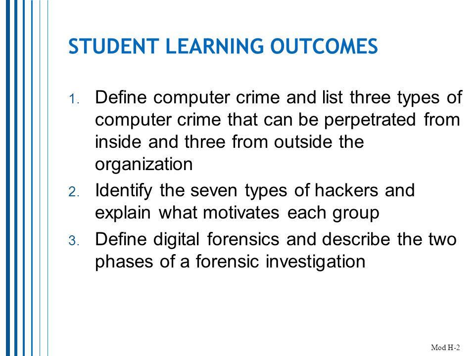 Players  Hackers – knowledgeable computer users who use their knowledge to invade other people's computers  Thrill-seeker hackers – break into computer systems for entertainment  White-hat (ethical) hackers – computer security professionals who are hired by a company to uncover vulnerabilities in a network Mod H-23