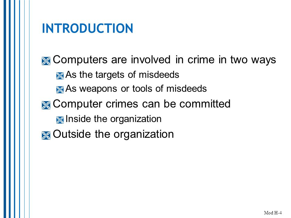 MODULE ORGANIZATION 1.Computer Crime  Learning Outcomes #1 & #2 2.