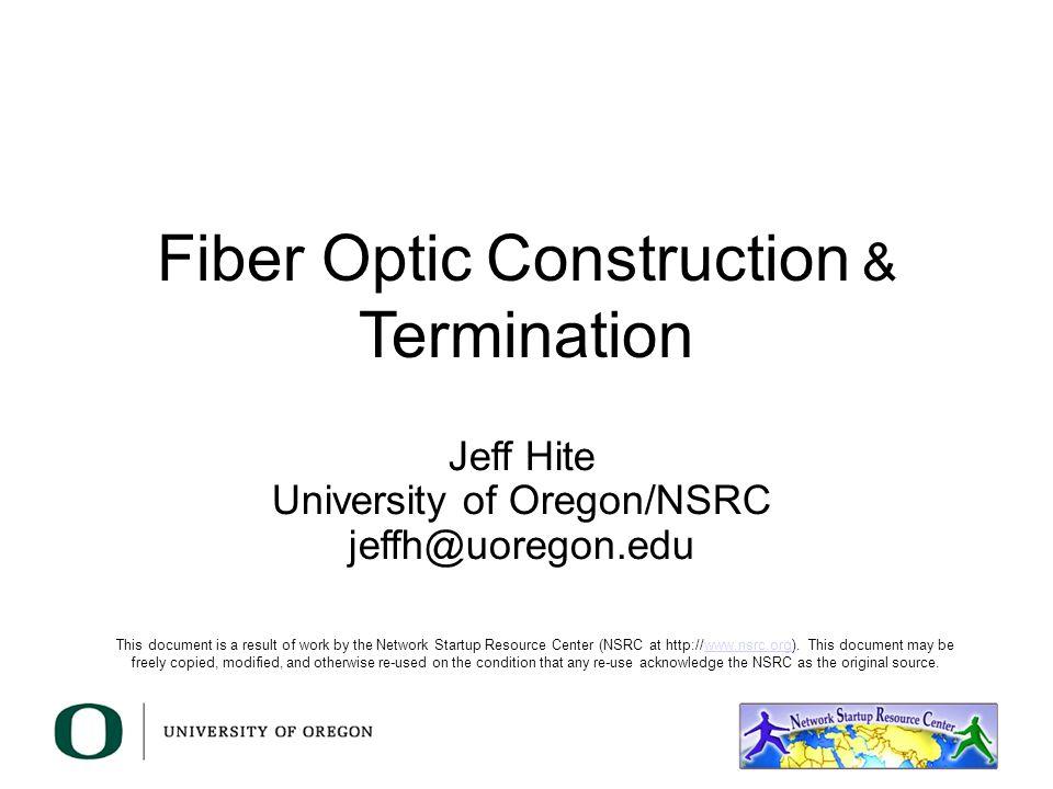 Campus Fiber Plant Construction Fiber Selection Pathway Construction Installation Guidelines Termination