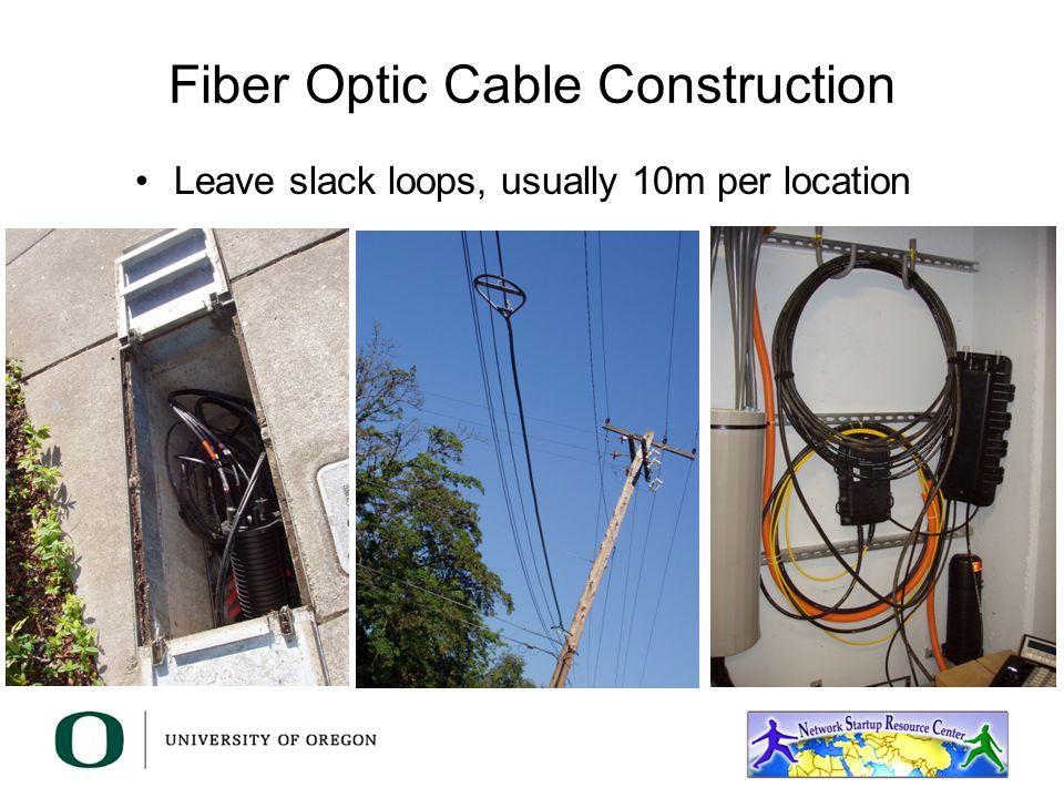 Fiber Optic Cable Construction Leave slack loops, usually 10m per location