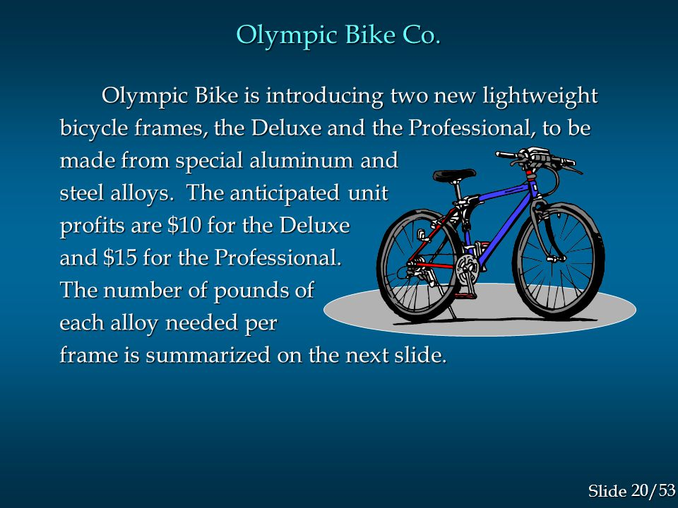 20/53 Slide Olympic Bike is introducing two new lightweight bicycle frames, the Deluxe and the Professional, to be made from special aluminum and steel alloys.