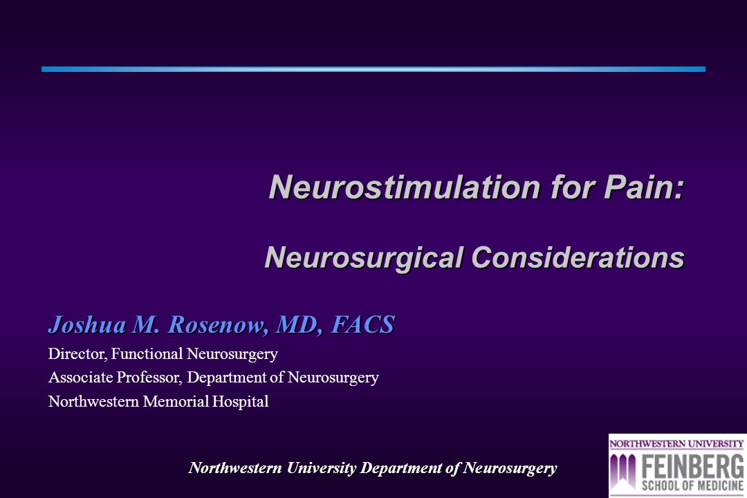 Northwestern University Department of Neurosurgery To Extend or Not to Extend  PRO  Adds slack to system  May make revision less invasive  May be needed to adapt electrodes to IPG  Needed for permanent trial  CON  Another electrical connection  Another wire that may break  Connector adds bulk and may not be suitable for some locations  Direct connection to IPG may reduce slack in system and add tension to electrode  In either case, there should be a relaxing loop of electrode in the electrode incision site