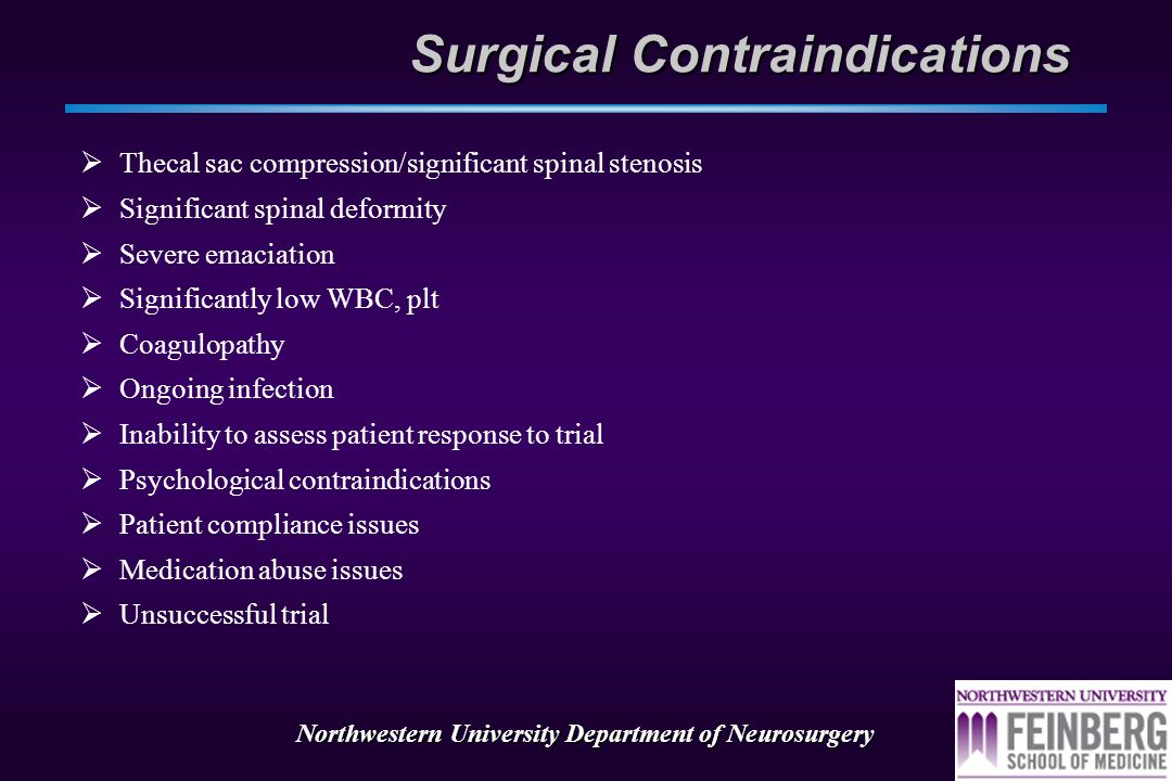 Northwestern University Department of Neurosurgery Patient Factors  Set appropriate expectations!!!.