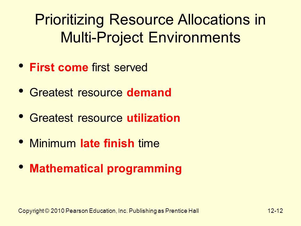 12-12 Prioritizing Resource Allocations in Multi-Project Environments First come first served Greatest resource demand Greatest resource utilization M