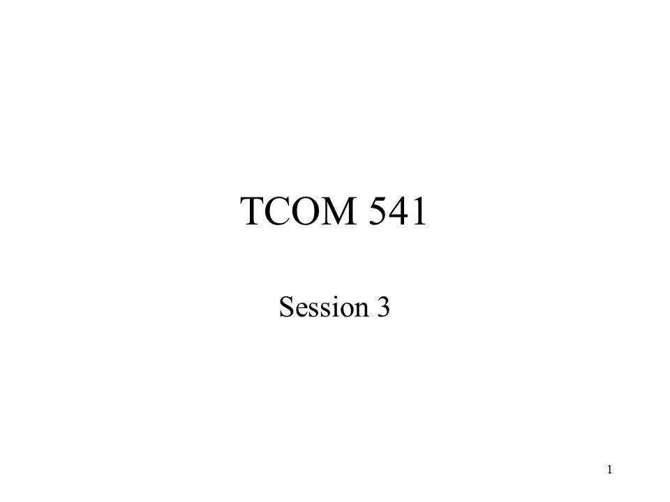 1 TCOM 541 Session 3