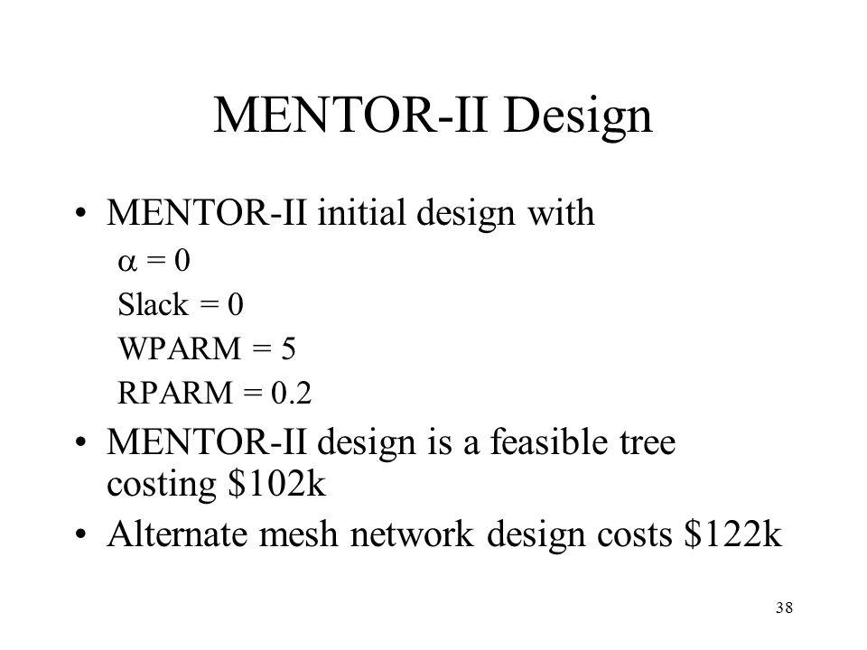38 MENTOR-II Design MENTOR-II initial design with  = 0 Slack = 0 WPARM = 5 RPARM = 0.2 MENTOR-II design is a feasible tree costing $102k Alternate mesh network design costs $122k