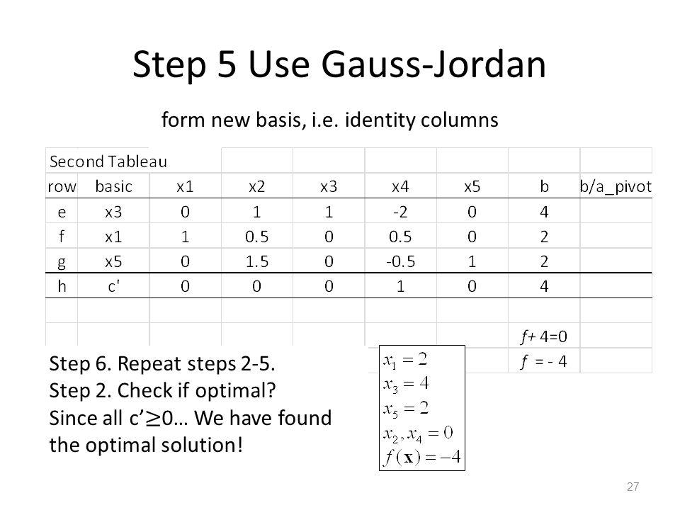 Step 5 Use Gauss-Jordan form new basis, i.e. identity columns 27 Step 6.