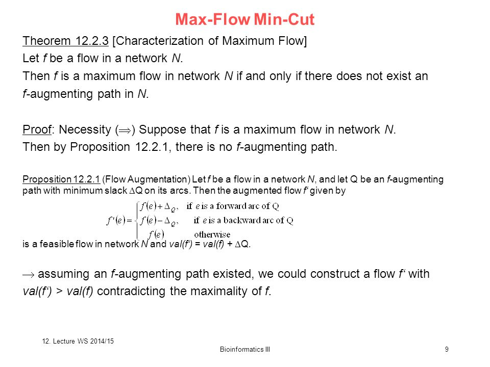 Bioinformatics III9 Proof: Necessity (  ) Suppose that f is a maximum flow in network N.