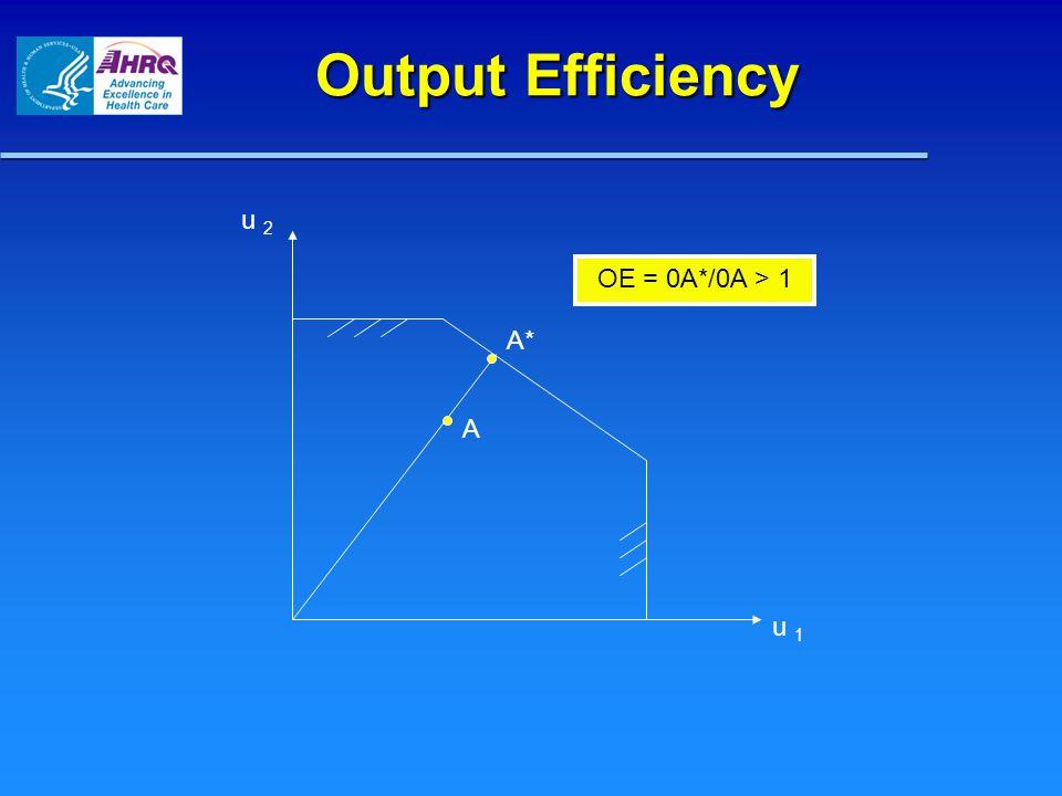 Output Efficiency u 2 u 1 A A* OE = 0A*/0A > 1