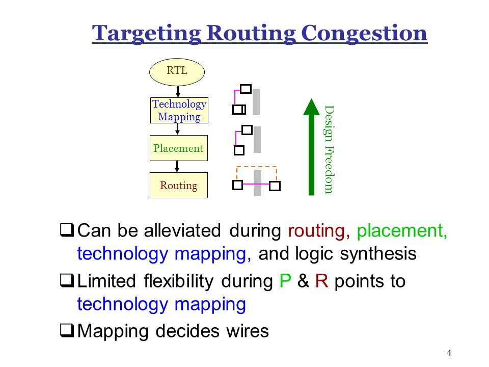 4 Targeting Routing Congestion  Can be alleviated during routing, placement, technology mapping, and logic synthesis  Limited flexibility during P & R points to technology mapping  Mapping decides wires Design Freedom Placement RTL Routing Technology Mapping