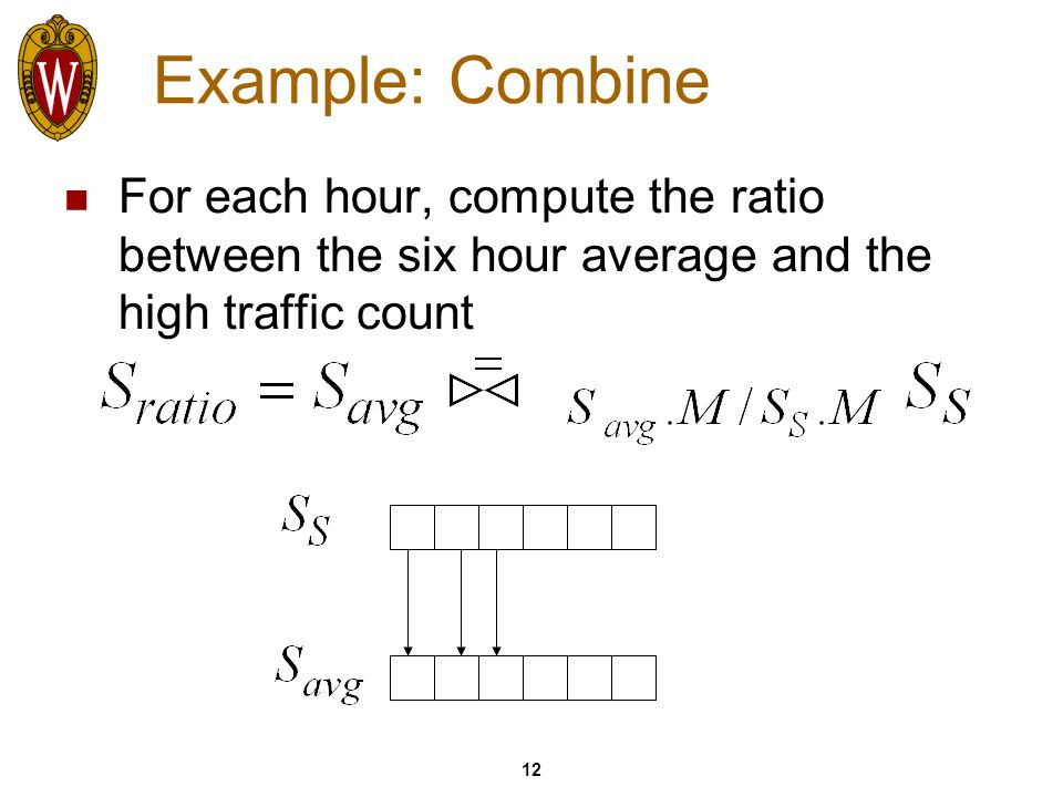 12 Example: Combine For each hour, compute the ratio between the six hour average and the high traffic count