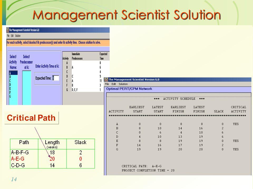 14 Management Scientist Solution Critical Path