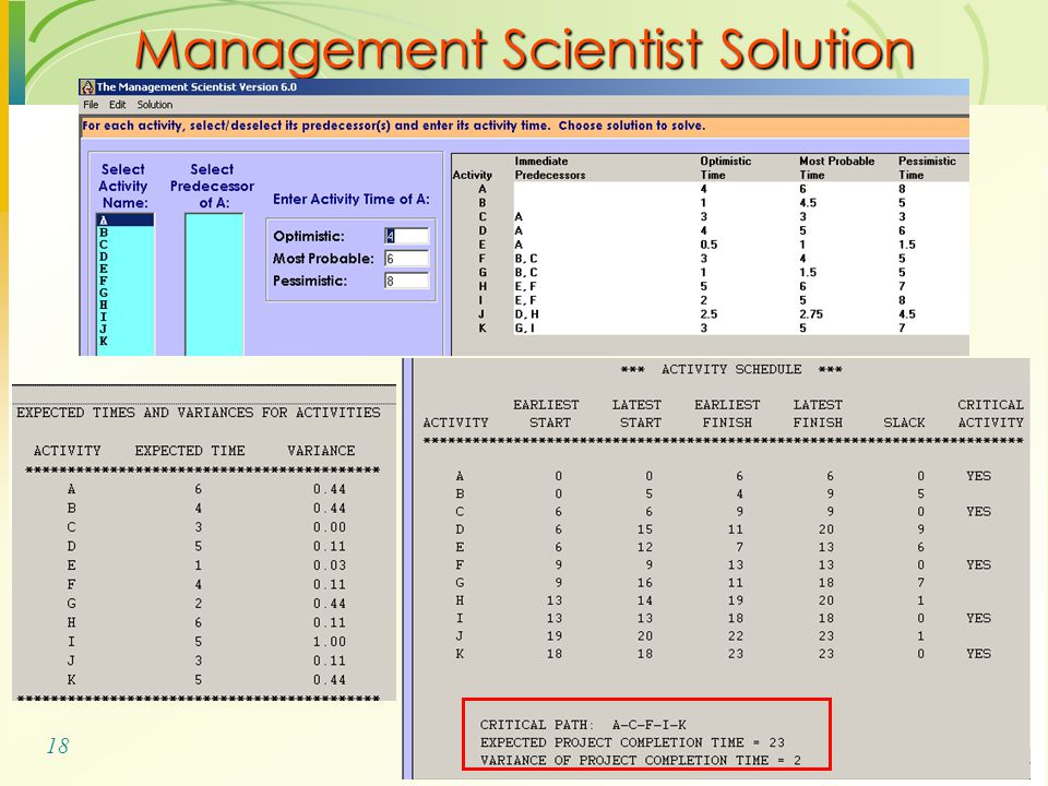 18 Management Scientist Solution