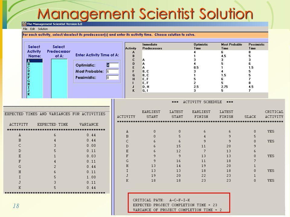18 Management Scientist Solution