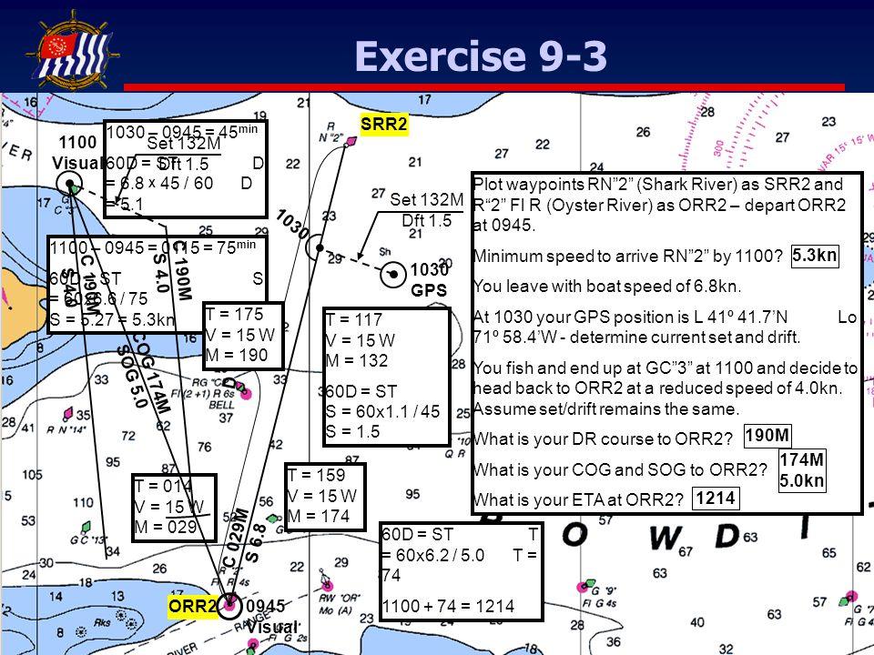 Plot waypoints RN 2 (Shark River) as SRR2 and R 2 Fl R (Oyster River) as ORR2 – depart ORR2 at 0945.