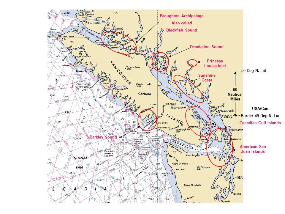 Princess Louisa Inlet Desolation Sound Canadian Gulf Islands American San Juan Islands Broughton Archipelago Also called Blackfish Sound USA/Can Border 49 Deg N.