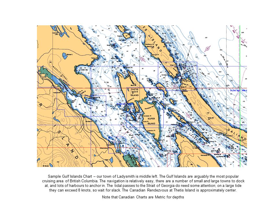 Sample Gulf Islands Chart – our town of Ladysmith is middle left.