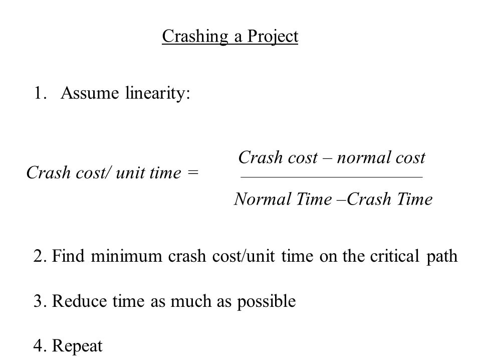 Crashing a Project 1.Assume linearity: Crash cost – normal cost Crash cost/ unit time = Normal Time –Crash Time 2.