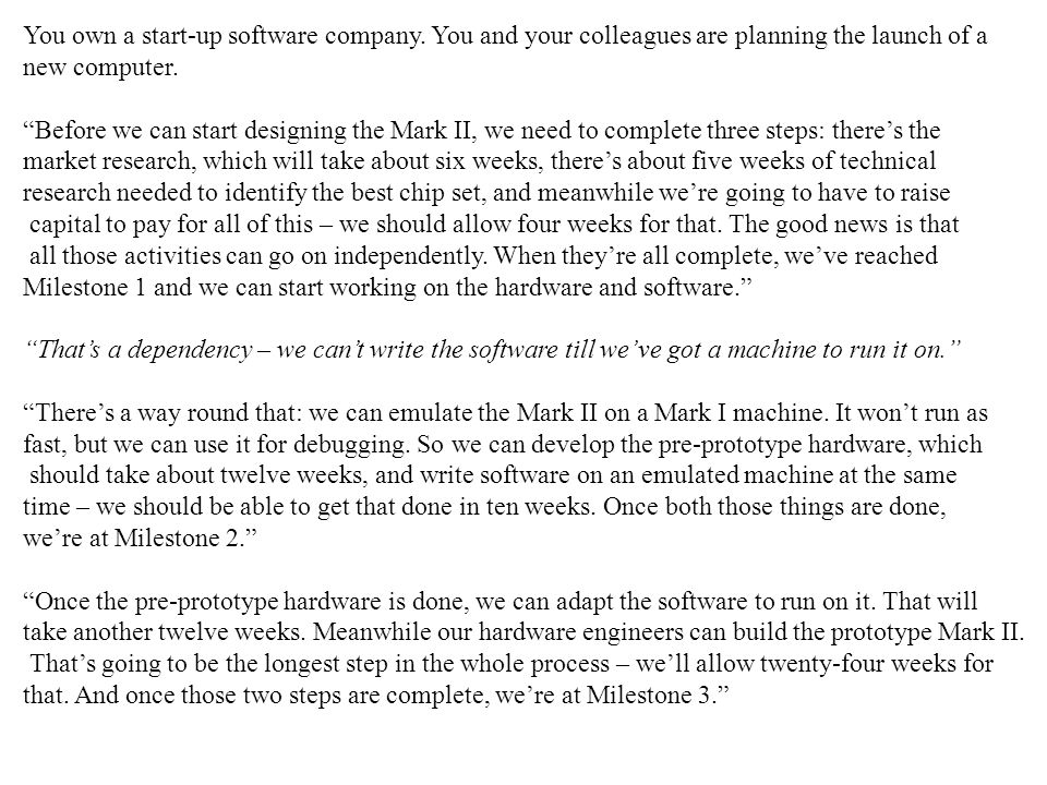 You own a start-up software company.