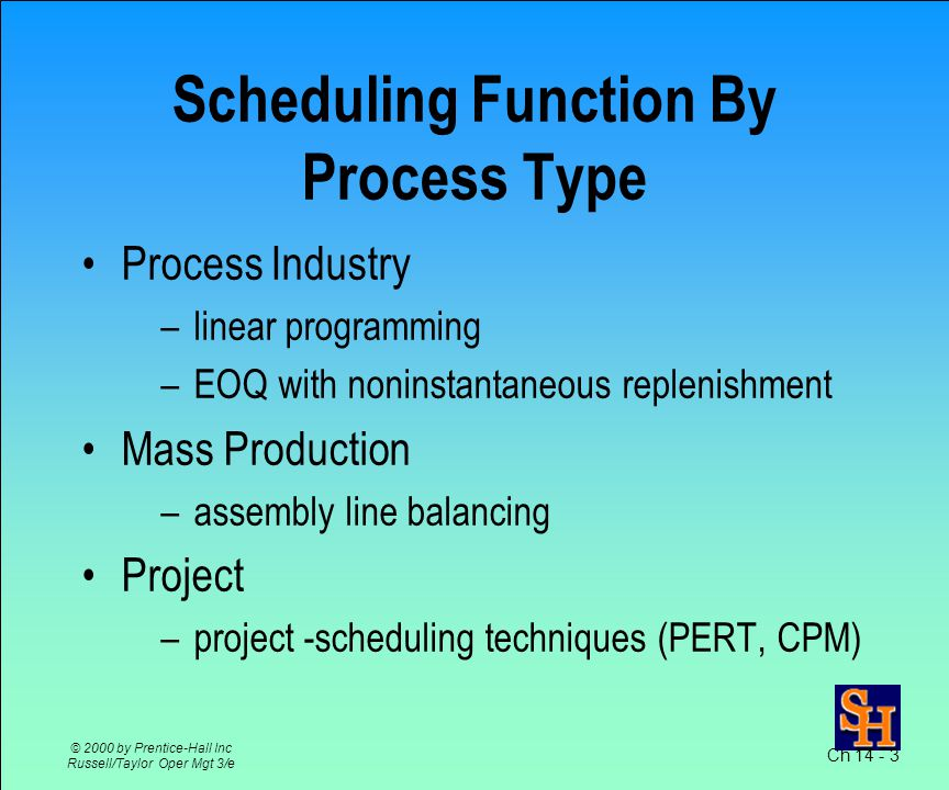 Ch 14 - 2 © 2000 by Prentice-Hall Inc Russell/Taylor Oper Mgt 3/e Scheduling Specifies when labor, equipment, facilities are needed to produce a product or provide a service Last stage of planning before production occurs