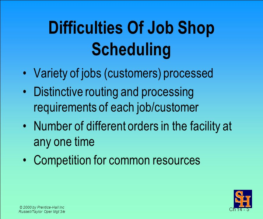 Batch Production –many planning steps aggregate planning master scheduling material requirements planning (MRP) capacity requirements planning (CRP) Scheduling determines –machine/worker/job assignments –resource/requirement matchings Ch 14 - 4 © 2000 by Prentice-Hall Inc Russell/Taylor Oper Mgt 3/e Scheduling Batch/Job Shop Operations