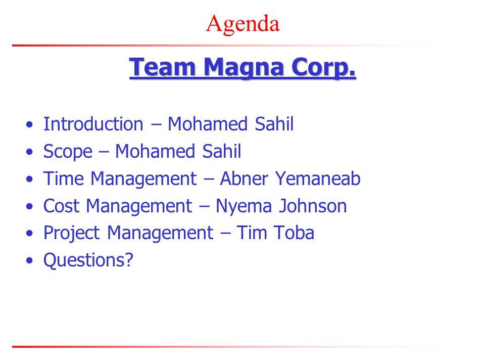 Agenda Team Magna Corp.