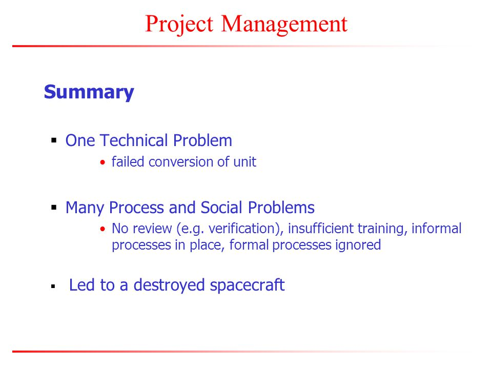 Project Management Summary  One Technical Problem failed conversion of unit  Many Process and Social Problems No review (e.g.