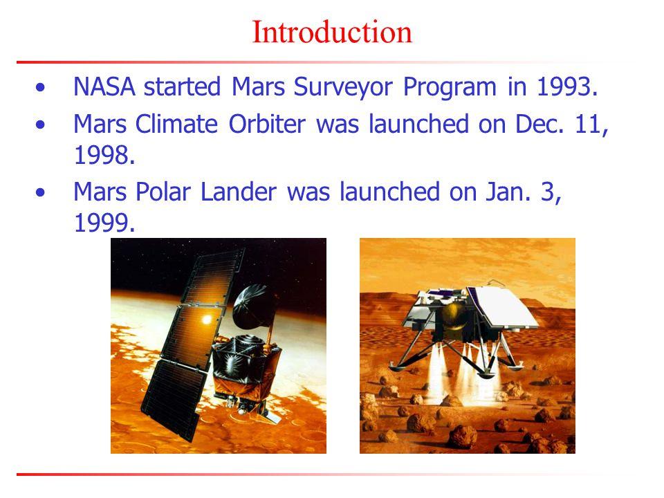 Introduction NASA started Mars Surveyor Program in 1993.