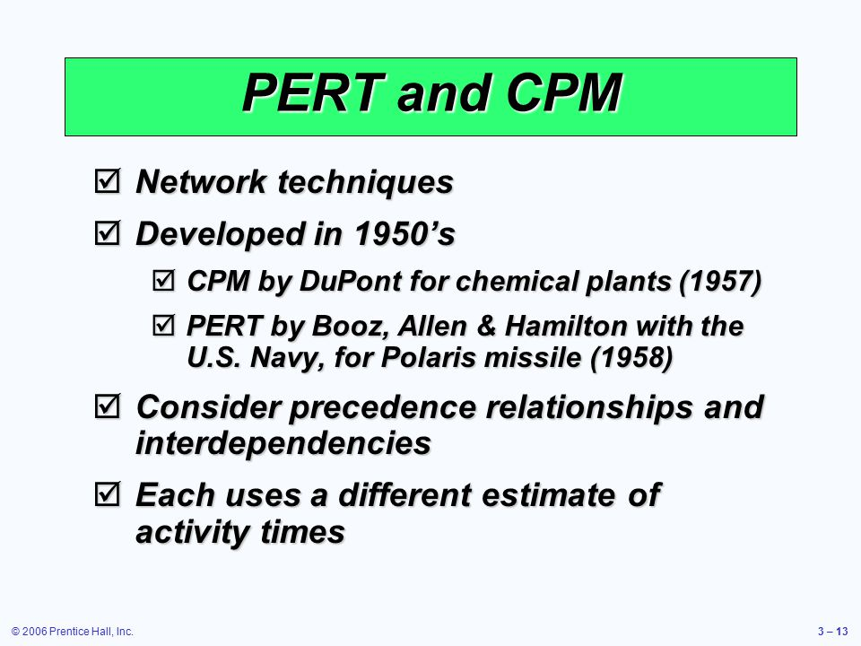 © 2006 Prentice Hall, Inc.3 – 13  Network techniques  Developed in 1950's  CPM by DuPont for chemical plants (1957)  PERT by Booz, Allen & Hamilton with the U.S.