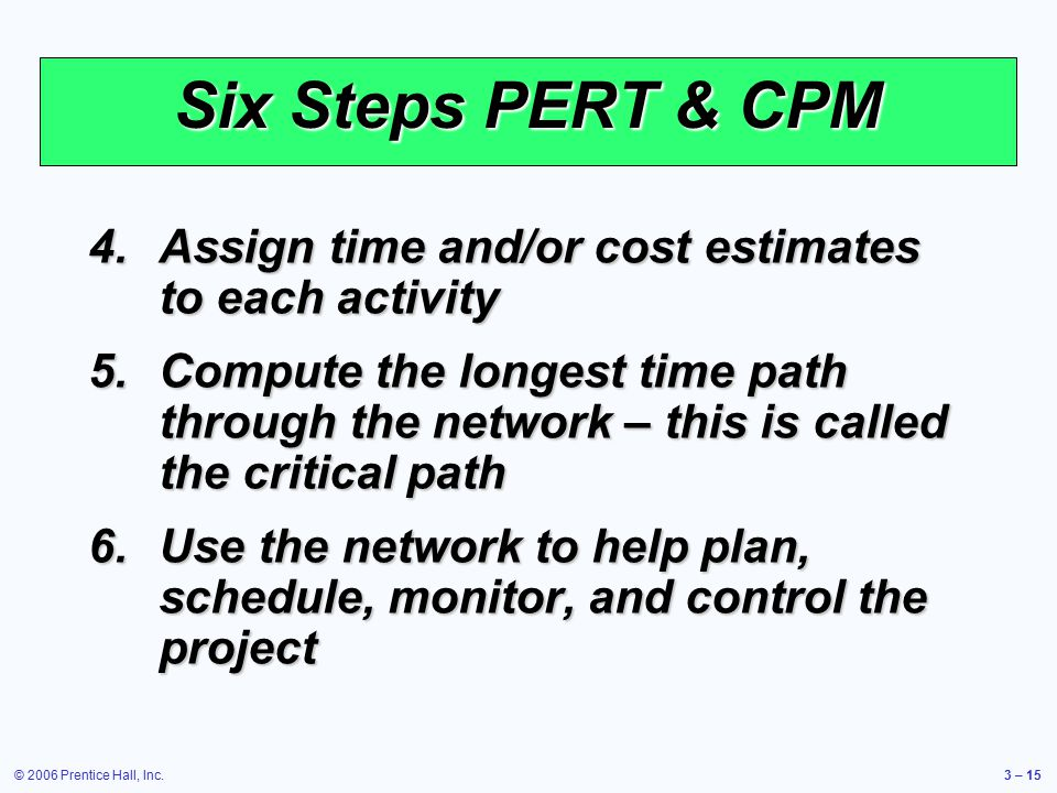 © 2006 Prentice Hall, Inc.3 – 15 Six Steps PERT & CPM 4.Assign time and/or cost estimates to each activity 5.Compute the longest time path through the network – this is called the critical path 6.Use the network to help plan, schedule, monitor, and control the project