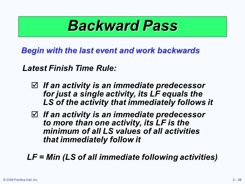 © 2006 Prentice Hall, Inc.3 – 39 Backward Pass Begin with the last event and work backwards Latest Finish Time Rule:  If an activity is an immediate predecessor for just a single activity, its LF equals the LS of the activity that immediately follows it  If an activity is an immediate predecessor to more than one activity, its LF is the minimum of all LS values of all activities that immediately follow it LF = Min (LS of all immediate following activities)