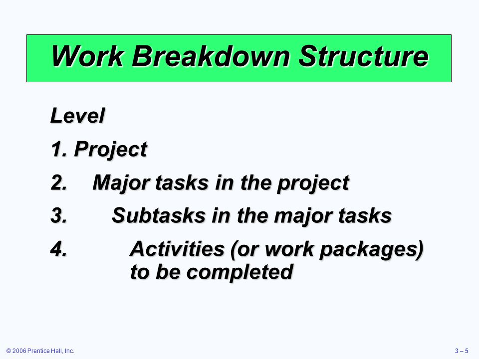 © 2006 Prentice Hall, Inc.3 – 5 Work Breakdown Structure Level 1.Project 2.Major tasks in the project 3.Subtasks in the major tasks 4.Activities (or work packages) to be completed