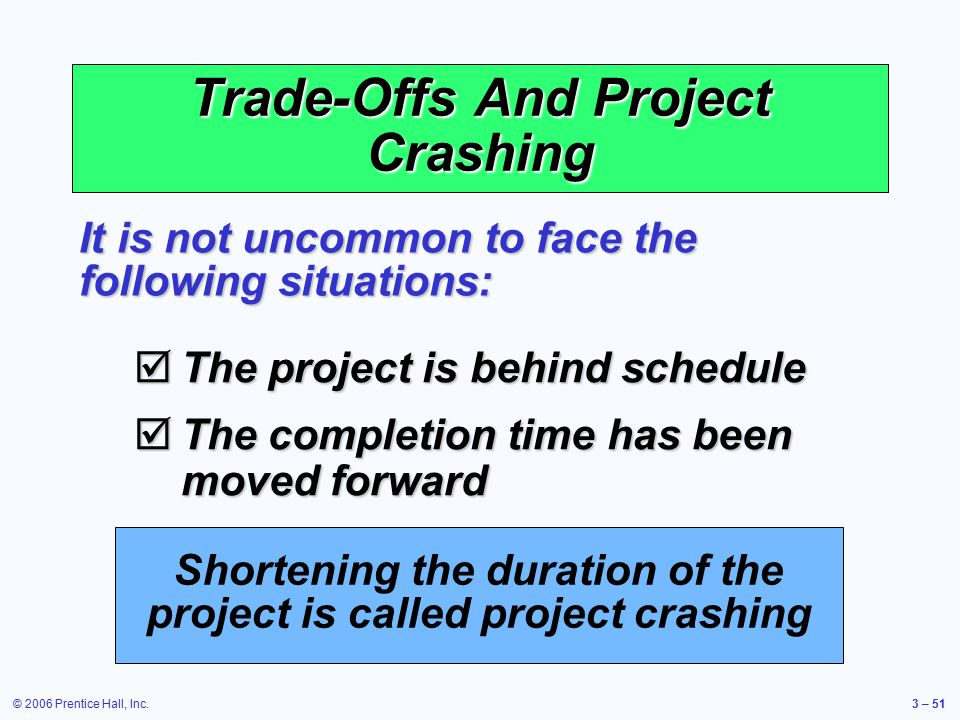 © 2006 Prentice Hall, Inc.3 – 51 Trade-Offs And Project Crashing  The project is behind schedule  The completion time has been moved forward It is not uncommon to face the following situations: Shortening the duration of the project is called project crashing