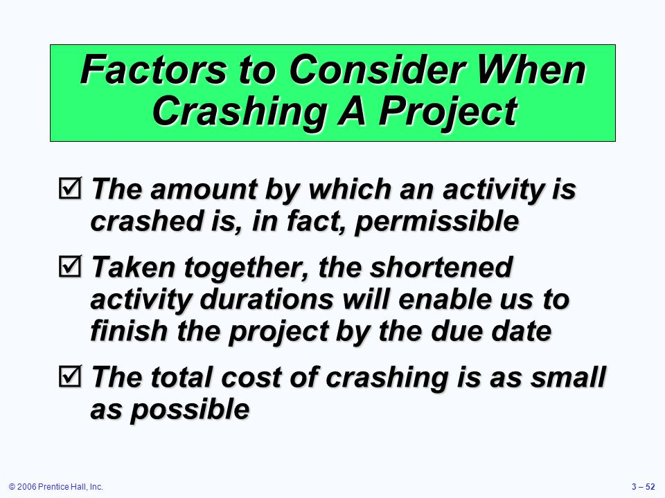 © 2006 Prentice Hall, Inc.3 – 52 Factors to Consider When Crashing A Project  The amount by which an activity is crashed is, in fact, permissible  Taken together, the shortened activity durations will enable us to finish the project by the due date  The total cost of crashing is as small as possible