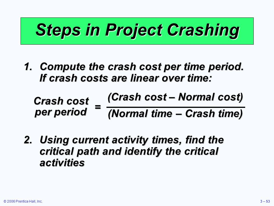 © 2006 Prentice Hall, Inc.3 – 53 Steps in Project Crashing 1.Compute the crash cost per time period.