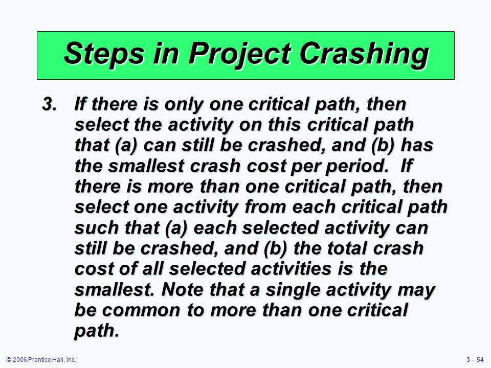 © 2006 Prentice Hall, Inc.3 – 54 Steps in Project Crashing 3.If there is only one critical path, then select the activity on this critical path that (a) can still be crashed, and (b) has the smallest crash cost per period.