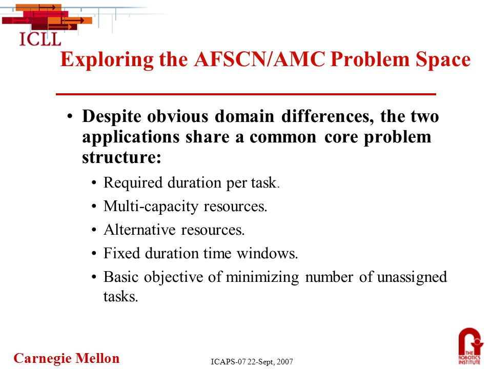 Carnegie Mellon ICAPS-07 22-Sept, 2007 Exploring the AFSCN/AMC Problem Space Despite obvious domain differences, the two applications share a common core problem structure: Required duration per task.