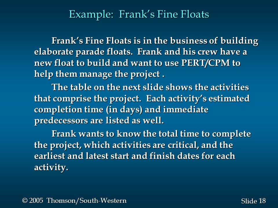 18 Slide © 2005 Thomson/South-Western Example: Frank's Fine Floats Frank's Fine Floats is in the business of building elaborate parade floats.