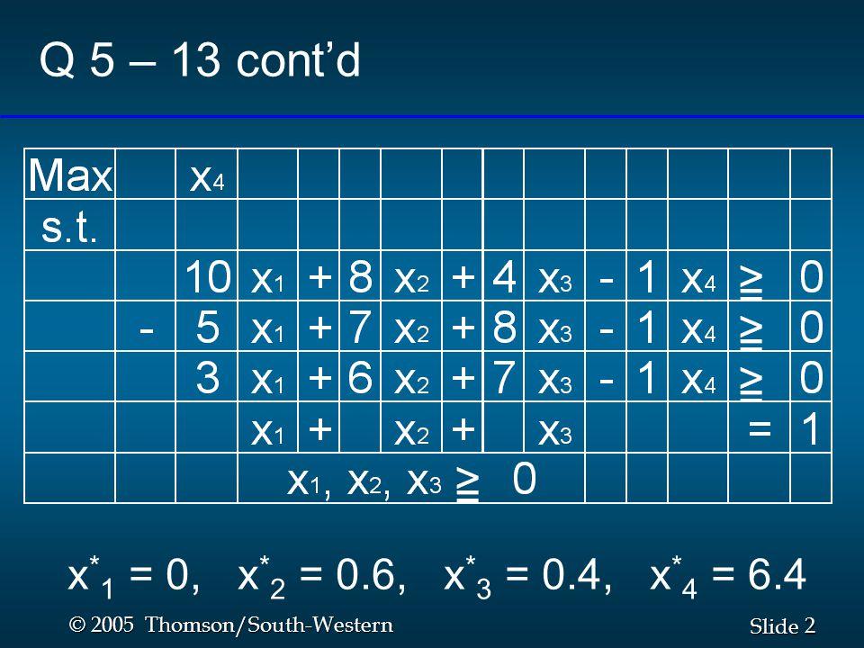 2 2 Slide © 2005 Thomson/South-Western Q 5 – 13 cont'd x * 1 = 0, x * 2 = 0.6, x * 3 = 0.4, x * 4 = 6.4