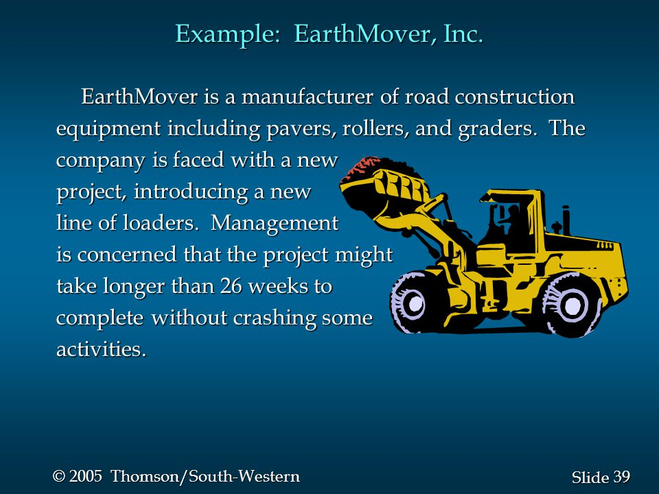 39 Slide © 2005 Thomson/South-Western EarthMover is a manufacturer of road construction equipment including pavers, rollers, and graders. The company