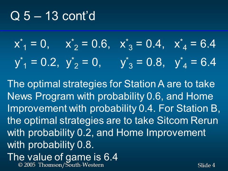 4 4 Slide © 2005 Thomson/South-Western Q 5 – 13 cont'd y * 1 = 0.2, y * 2 = 0, y * 3 = 0.8, y * 4 = 6.4 The optimal strategies for Station A are to take News Program with probability 0.6, and Home Improvement with probability 0.4.