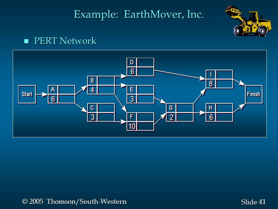 41 Slide © 2005 Thomson/South-Western n PERT Network Example: EarthMover, Inc.